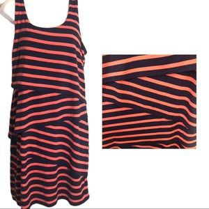 Loft Pink and Navy Stripped Dress